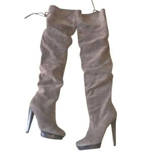 Grey Suede Xenonn Over-the-Knee Boots